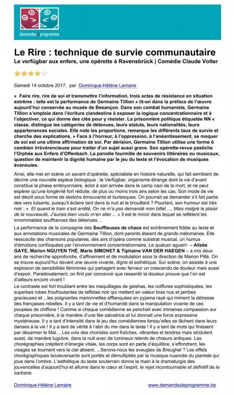 Le Verfugbar aux Enfers - Demandez le Programme - Dominique-Helene Lemaire - 14/10/2017