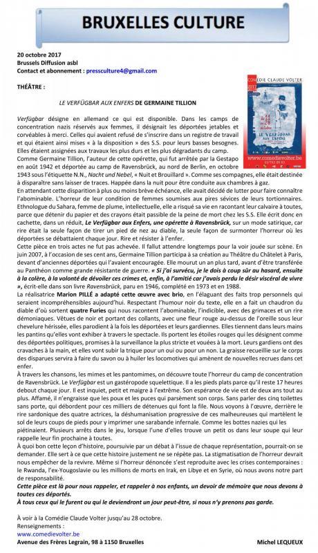 Le Verfugbar aux enfers - Bruxelles Culture - Michel Lequeux - 20/10/2017